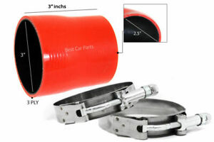 Red Silicone Reducer Coupler Hose 3 2 5 76 Mm 63 Mm T bolt Clamps Hy