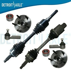 Front Cv Axle Drive Shaft 2 Outer Tie Rods 2 Hub Bearings W Auto Trans