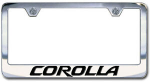 Chrome Engraved Toyota Corolla License Plate Frame New Block Lettering