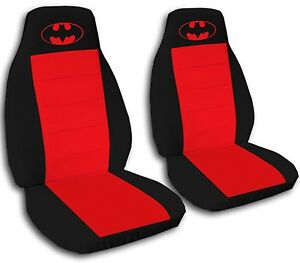 Batman Car Seat Covers In Red Black Velour Front Set
