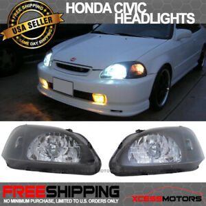 Fits 99 00 Honda Civic Ek Jdm Black Housing Headlights Lamps Head Lamps 2 3 4dr