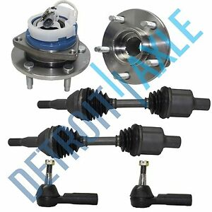 2 Front Cv Drive Axle Shaft 2 Wheel Hub Bearing Assembly 2 Outer Tie Rods