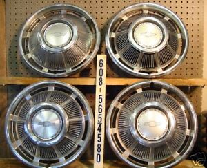 1969 69 Chevy Chevrolet Impala Hubcaps Wheel Covers Center Caps Antique Vintage
