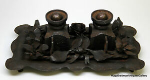 Art Deco Wrought Iron Inkwell Set Signed E Brandt