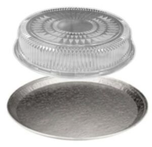 16 Round Flat Aluminum Foil Catering Tray W clear Dome Lid disposable Pan 50 s