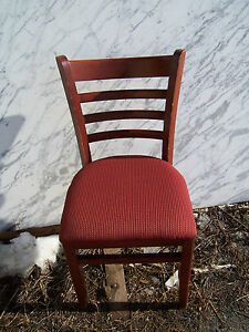 Used Cherry Restaurant Chairs W Maroon Designed Fabric Seat Covers