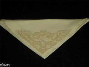 Antique Linen Lace And Embroidery Napkins Corner Point Floral Design Early 1900s
