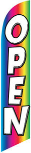 Open Rainbow Feather Banner Swooper Flag Kit Includes Pole Kit