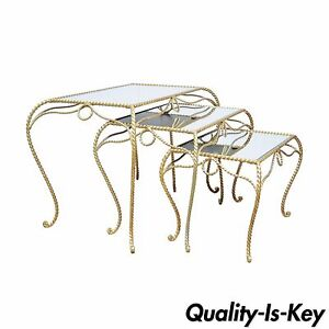 Vintage Stack Nest Of Italian Gold Rope Mirror Tole End Tables Hollywood Regency