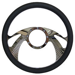 Billet Steering Wheel Chromed 14 Wing Style With Black Leather Grip