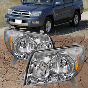 Fits 2003 2004 2005 Toyota 4 Runner Replacement Headlights Set W Bulb Chrome