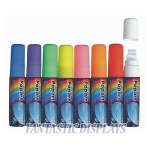 Fluorescent Liquid Chalk Neon Markers Pen Pack Dry Erase 8 Colors Bold Large Tip