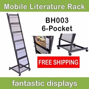 6 shelf Mobile Literature Rack Brochure Holder And Magazine Stand On Casters
