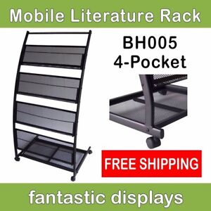 Mobile Literature Rack And Magazine Stand Wide Shelves On Casters
