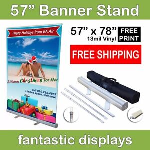 57 Retractable Roll Up Banner Stand With Print Included For Trade Show Booths
