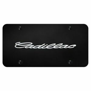 Cadillac Front License Plate Frame Chrome Logo On Gloss Black Stainless Steel