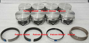Chevy 7 4 454 Speed Pro Hypereutectic Flat Top Pistons Moly Rings Set Kit 030