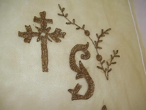 Antique Hand Embroidery Gold Metallic Cross Sampler Type Design On Netting