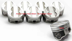 Speed Pro Trw Pontiac 400 Forged Coated Skirt Flat Top 4vr Pistons Set 8 060