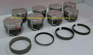 Speed Pro trw Pontiac 400 Forged Coated Skirt Flat Top Pistons Rings Kit 020
