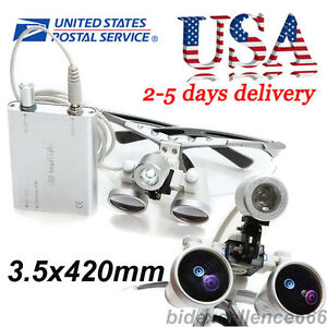 3 5x 420mmx80mm Dental Binocular Loupes Surgical Led Head Light Lamp Headlight