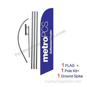 Purple Metropcs Auth Dealer Feather Banner Swooper Flag Kit With Pole spike