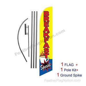 Breakfast Special Feather Banner Swooper Flag Kit With Pole spike