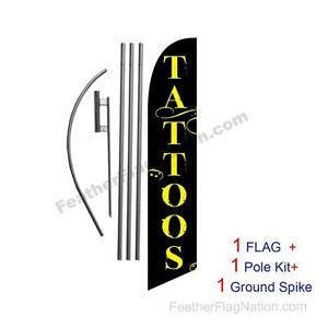 Tattoos 15 Feather Banner Swooper Flag Kit With Pole spike