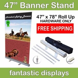 47 Retractable Roll Up Banner Stand Holds 34 78 Tall Banners