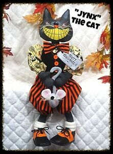 Primitive Raggedy Halloween Jynx The Black Cat W Mouse Pattern 464