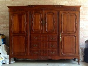 French Provincial Antique Styled Armoire Double Wardrobe Cabinet Dresser