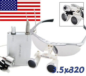 3 5x320mm New Silver Dental Surgical Binocular Loupes Led Headlight Lamp Fda