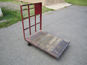 Vintage Industrial Factory Cart Dock Steel Wood Antique Steampunk Machine Age