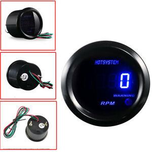 Hotsystem Car 2 52mm Blue Digital Led Elec 0 9999 Rpm Tachometer Tacho Gauge