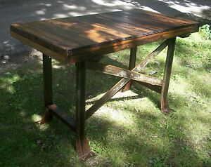 Antique Bar Table Workbench Kitchen Island Sideboard Loft Farmhouse Furniture
