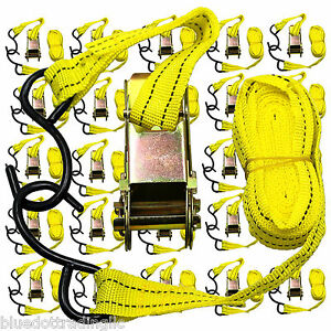 New Ratchet Tie Down Cargo Straps 1 Inch X 13 Ft With S Hooks 24 Lot Pack