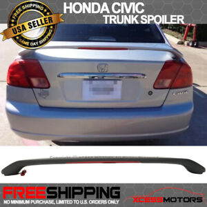 Fit 01 05 Honda Civic Oe Style Trunk Spoiler W Led Brake Light Matte Black Abs