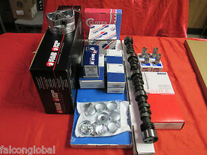 Chevy 350 5 7l Master Engine Kit Flat Top Pistons Torque Rv Cam Camshaft 1969 79