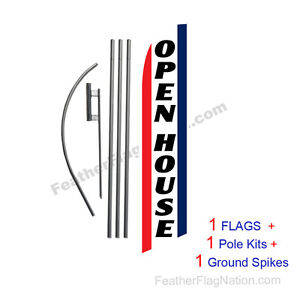 Open House brw 15 Feather Banner Swooper Flag Kit With Pole spike