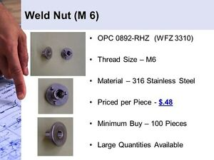 Weld Nut stainless Steel M6 Thread Size Opc0892