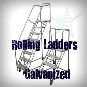 Rolling Ladder 10 Step Galvanized Ladder