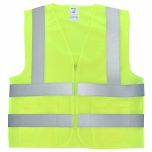 Neiko 2 Pockets Neon Yellow Safety Vest With Reflective Strips Ansi isea Xl