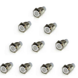 10pcs 16mm 12v White Led Angel Eye Push Button Metal On off Switch For Car Motor