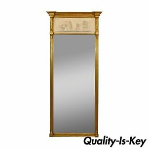Vintage Greek Neoclassical Style Friedman Brothers Gold Gilt Wood Trumeau Mirror
