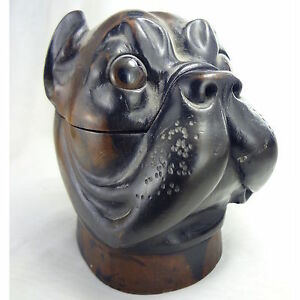 Carved Wood Bulldog Inkwell