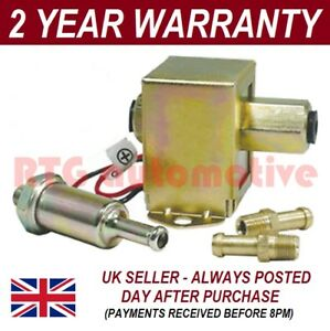 Universal 12v Fuel Pump 2x Fuel Unions In line Fuel Filter Petrol Diesel
