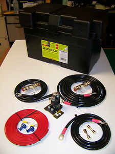 Heavy Duty Dual Auxiliary Battery Isolator W Cables Complete Kit 150a