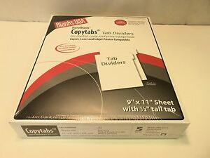 Copytabs Tab Dividers 9 X 11 With 1 2 Tall Tab 90 Lb White 250 Sheets