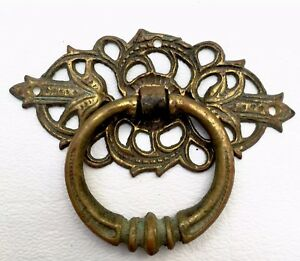 Brass French Antique Hardware Vintage Ring Drawer Pull Victorian Cabinet Knob