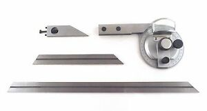 Vernier Dial Bevel Protractor Stainless Magnifying Lens Hardened Blades Igaging